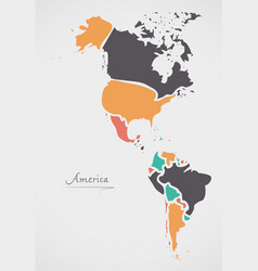 america continent map with states vector image vector image