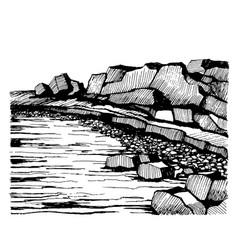 cliffs beach rocks on the coast vector image