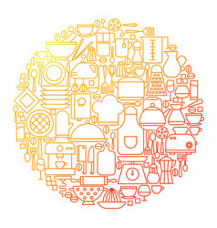 kitchen line icon circle design vector image vector image
