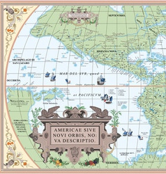 old map of South and North America vector image