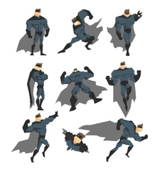 Superhero Actions Set in Comics Style vector image vector image