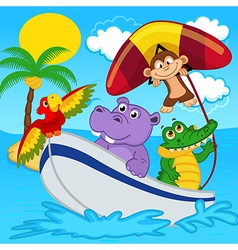 animals on boat ride with monkey on hang glider vector image vector image