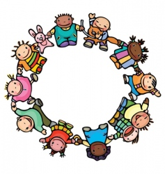 circle of happy children vector image vector image