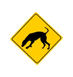 Dog at work warning sign vector image vector image