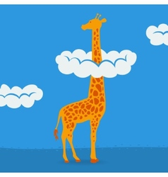 Giraffe on blue sky background vector image vector image