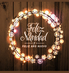 Merry christmas happy new year spanish card vector