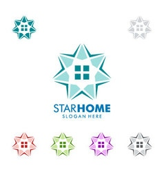 Real estate logo design with star and home vector image vector image