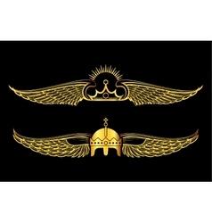 Set of golden winged crowns logos black background vector image
