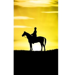Sunset Horse Ride vector image vector image