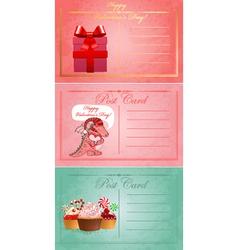 Vintage valentine day postcards vector image