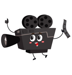 cute funny vintage film camera character with vector image