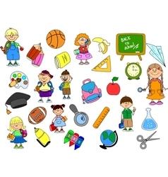Cute School Icon Set vector image vector image