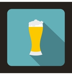 Glass of beer icon flat style vector image vector image