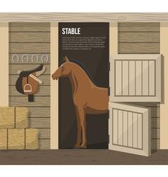 Horse breeding farm stable stall poster vector
