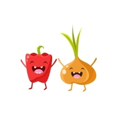 Sweet Pepper And Onion Cartoon Friends vector image vector image