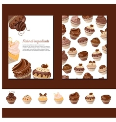Template with chocolate muffins vector image vector image