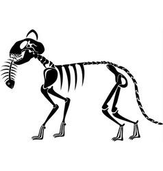 cat skeleton caught a fish skeleton vector image