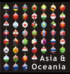 Christmas bulbs Asia flags vector image