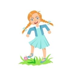 Girl Walking On Lawn Grass Breaking Flowers vector image vector image