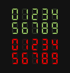 green and red digital numbers set vector image vector image
