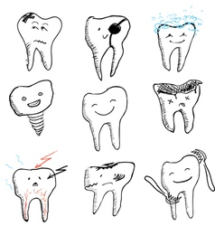 hand drawn funny teeth icons collection vector image vector image