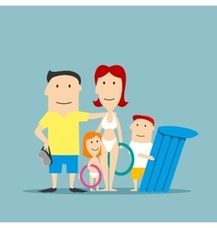 Happy family in swimwear on summer vacation vector image