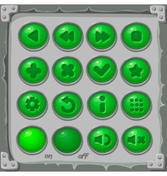 Set of green buttons game icons vector image vector image