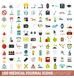 100 medical journal icons set flat style vector image