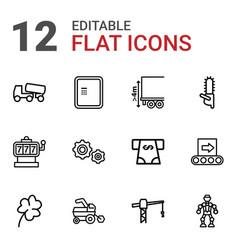 12 machine icons vector
