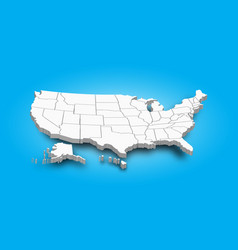 3d map of united state of america vector