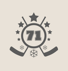 71 number ice hockey emblem vector image