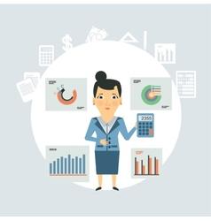 Accountant considers on calculator graphs vector
