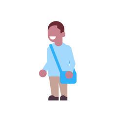 african american boy backpack school children vector image