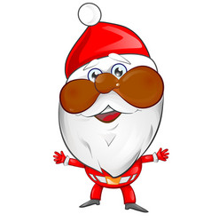 african american santa claus cartoon on white vector image