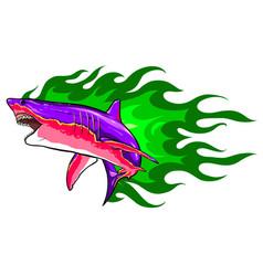 aggressive shark jump attack white vector image