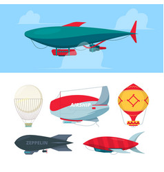 airship flying balloons dirigible zeppelin for vector image
