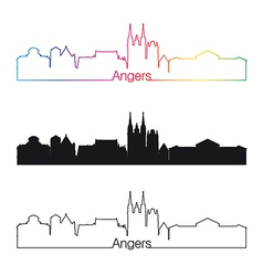 Angers skyline linear style with rainbow vector