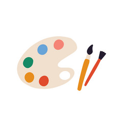 Artist s palette with paints different colors vector