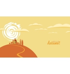 Autumn landscape with the village on the hill vector