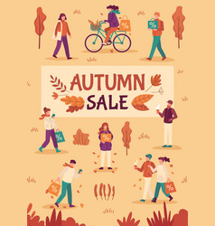 autumn sale people with umbrellas and shopping vector image