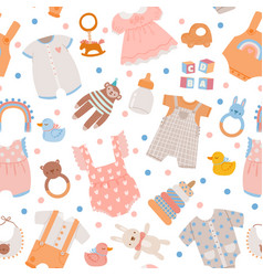 baby shower seamless pattern cute newborn clothes vector image