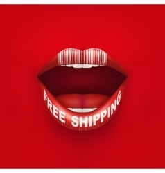 Background of Woman mouth with tag and lips vector