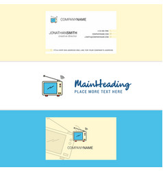 beautiful television logo and business card vector image