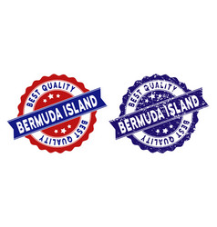 Bermuda island best quality stamp with scratched vector