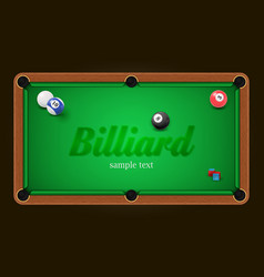 Billiard poster pool table background vector