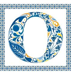 Blue letter O vector