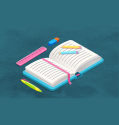book and stationery supplies for study and work vector image