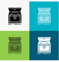 Box chest gold reward treasure icon over various vector