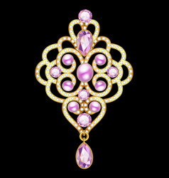 Brooch pendant with and precious stones filigree vector