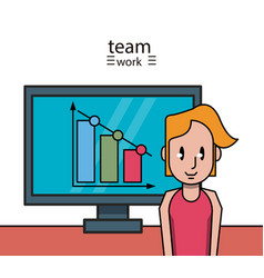 business teamwork cartoon vector image